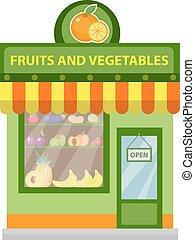 商店, 水果, 以及, vegetables., 商店, 建築物, 被隔离, 在懷特上, 背景。, 矢量, illustration.
