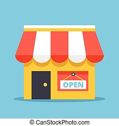 商店, 由于, 打開, 徵候。, 套間, 設計