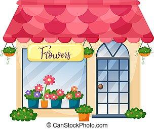 商店, 白色的花儿, 背景