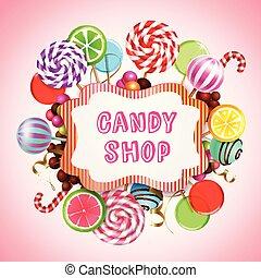 商店, 糖果, 背景, 作品