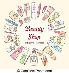 商店, 美麗, 心不在焉地亂寫亂畫, 框架, 化妝品, 標簽, 矢量