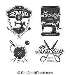 商店, 裁縫, 集合, 標籤, 矢量, retro, 標識語, 徽章