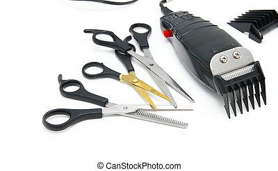 商店, 電推子, 頭髮, 理髮師, 剪刀, 白色