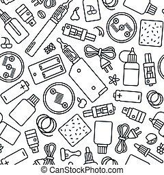 商店, 風格, 圖案, vape, seamless, 稀薄的線