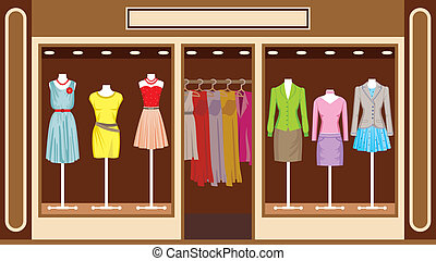 商店, boutique., 衣服, 妇女` s