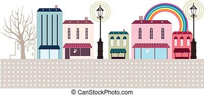 商店, caf?, 街道, 外部