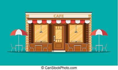 商店, exterior., 街道, 咖啡館, restraunt, 建筑物。
