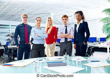 商業主管, 隊, youg, 人們, 在, 辦公室
