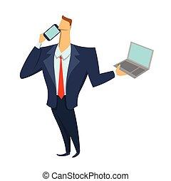 商業描述, 流動, 膝上型, 被隔离, 談話, 矢量, 電話。, 背景。, 藏品, 商人, 白色