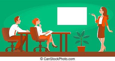商業桌子, 人們, 會議, 辦公室。