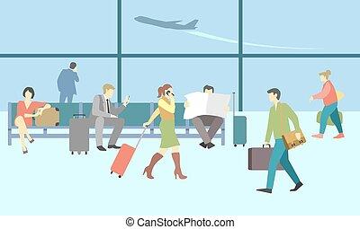 商業界人士, 在, 機場, terminal., 矢量, 旅行, 概念, 背景