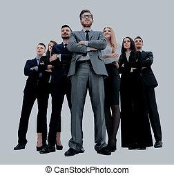 商業界人士, -, 年輕, 有吸引力, 隊, 精華