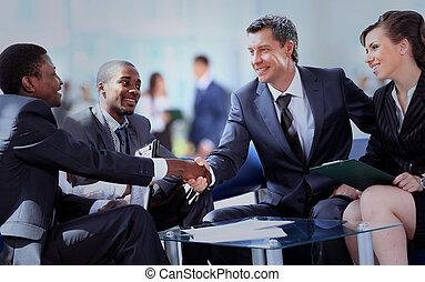 商業界人士, 握手, 精整, 向上, a, 會議