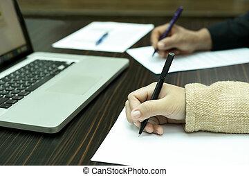 商業界人士, 會議, 由于, 筆記本電腦