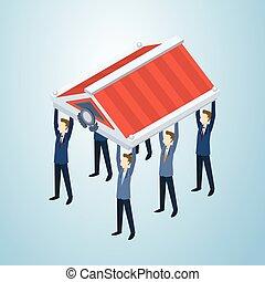 商業界人士, 組, 握住, 屋頂, 概念
