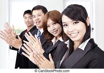 商業界人士, 鼓掌歡迎, 以及, 歡迎, 新, 合伙人