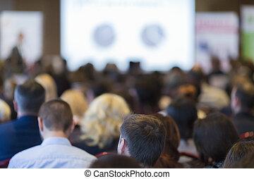 商業組, 以及, 人們, 概念, 以及, ideas., 人們的組, 參加會議, 以及, 听, 到, the, host.