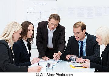 商業組, 在, a, 會議