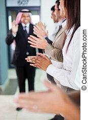 商業組, 鼓掌歡迎, 到, 歡迎, 阿拉伯, 商人