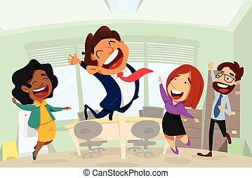 商業辦公室, 人們, 插圖, 卡通, 愉快