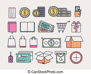 商業, セット, 電子, アイコン