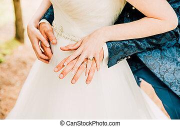 商標, 結婚戒指, 手, 新, 剛剛三, 晴朗, 顯示