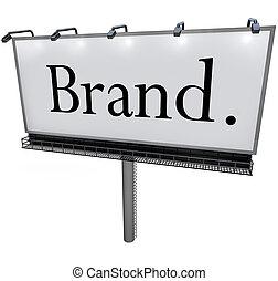 商標, 詞, 上, 廣告欄, 做廣告, 銷售, 消息