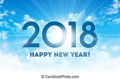 問候, 2018, 年, 新, 卡片, 愉快