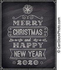 問候, 2020, 新, 愉快, 汽車, 聖誕節, 年, 黑板, 矢量