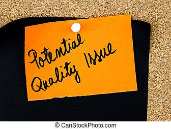 問題, メモ, 書かれた, ペーパー, オレンジ, 品質, 潜在性