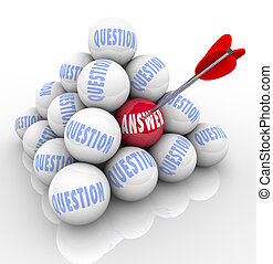 問題, 以及, 回答, 金字塔, 箭, 目標, 詞, 上, 球