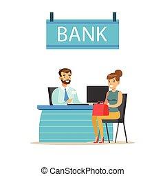 問題, 口座, 彼の, 財政, サービス, themed, イラスト, マネージャー, ベクトル, client., 机, 管理, 銀行