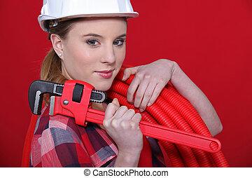 問題, 水暖工, 固定, 女性, 裝備