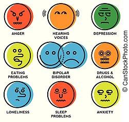 問題, 精神, アイコン, 健康