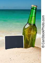 啤酒瓶子, 上, a, 沙海灘