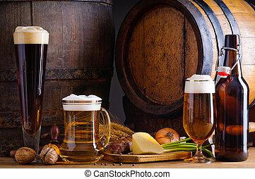 啤酒, 同时,, 传统, 食物