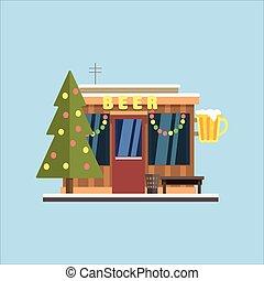 啤酒, 商店前面, 在, 圣誕節。, 矢量, 插圖