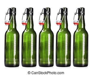 啤酒, 打開, 白色, 瓶子