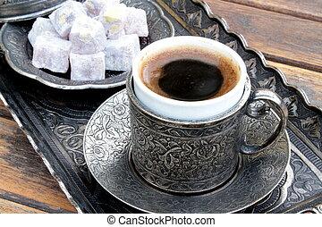 喜び, コーヒー, 古い, カップ, トルコ語, 金属, 伝統的である, 浮き彫りにされた