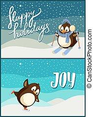 喜び, ホリデー, ペンギン, 陽気, ポスター, クリスマス, 幸せ