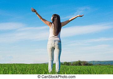喜び, 伸張, 表面仕上げ, かなり, 手, 肖像画, 女の子, 太陽, インスピレーシヨン