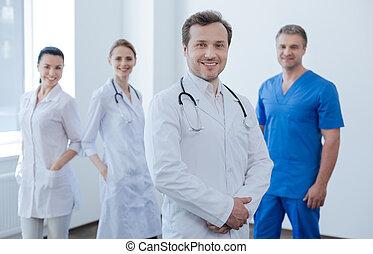 喜び, 医院, 喜ばせられた, 表現, 医者