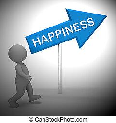 喜び, 印, レンダリング, 喝采, ショー, 幸福, 3d