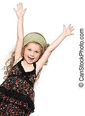 喜び, 女の子, 成功, 幸せ