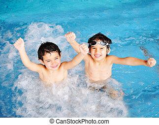 喜び, 子供, 幸福, プール