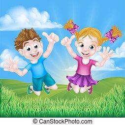 喜び, 子供, 漫画, 跳躍