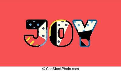 喜び, 概念, 芸術, イラスト, 単語