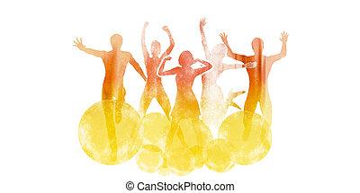 喜び, 跳躍, グループ, 友人