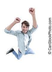 喜び, 跳躍, 幸せ, 人, 空気