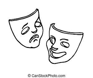 喜劇マスク, 悲劇, 楽しみ, シンボル, 演劇, 劇, 冗談, 悲しさ